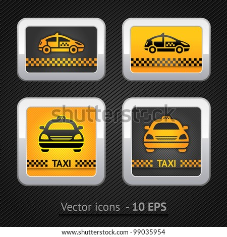 Taxi cab set buttons on background pixel. Vector 10eps - stock vector