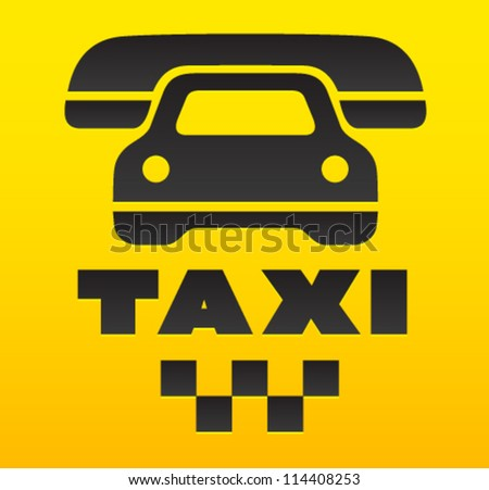 Taxi cab sign, cause a car by phone symbol. - stock vector