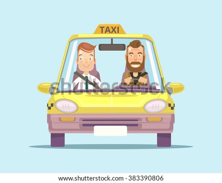 taxi car and taxi driver with