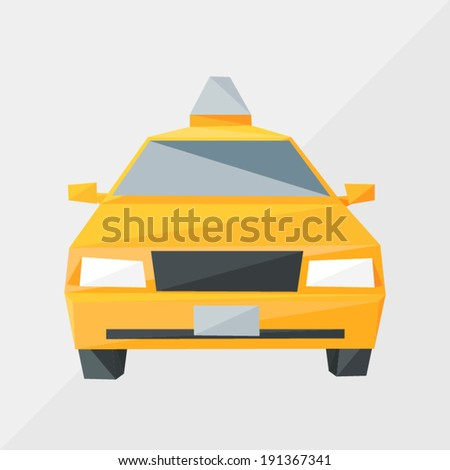 taxi car by triangles, polygon vector illustration