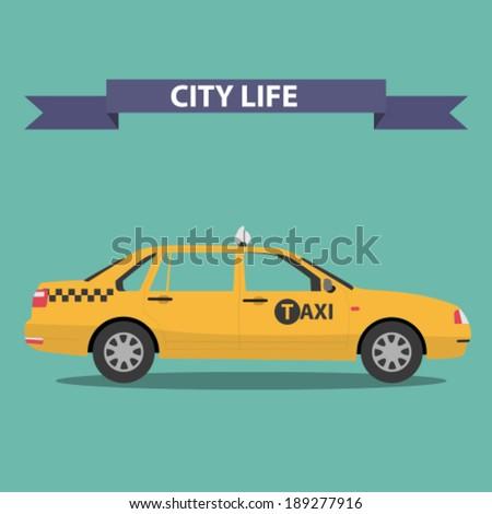 taxi car flat design