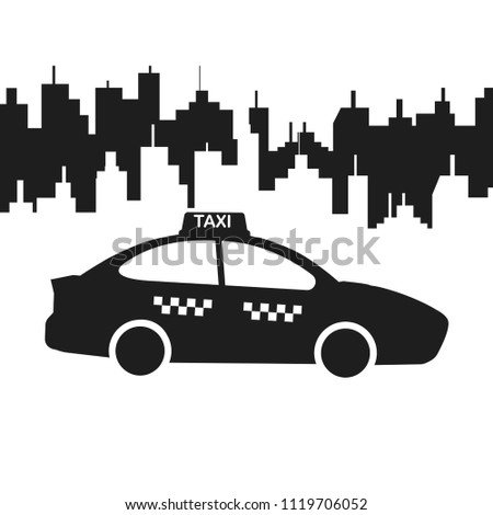 Taxi car isolated on white background. Cab, automobile. City passenger transport. Vector flat illustration.