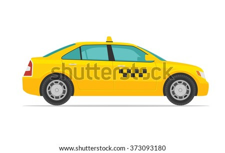 Taxi car. Vector flat illustration isolated on white background. Hand drawn design element for label and poster