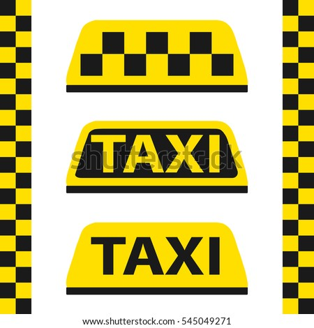 Taxi, checkered taxi, car, passenger, transportation, trip. Flat design, vector illustration, vector.