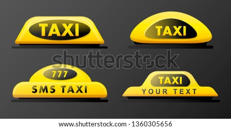 Taxi 3d roof sign. Icon set taxi sign on black background. Taxi sign on the roof of car. Vector illustration.