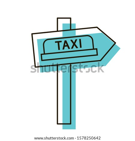 Taxi direction arrow. Navigation object for tourists. Design element. Vector illustration. Icon with shadow isolated on white background.