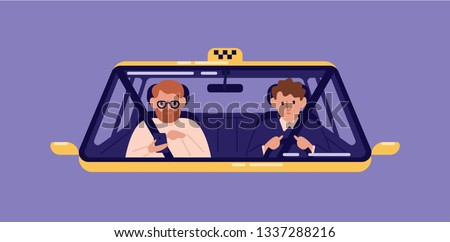 Taxi driver and bearded man sitting in front seat and surfing internet on smartphone in cab seen through windshield. Guy with mobile phone using automobile service. Flat cartoon vector illustration