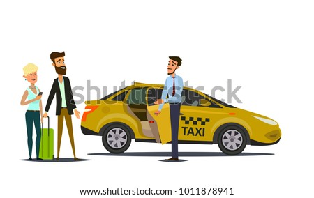 taxi driver and taxi customers