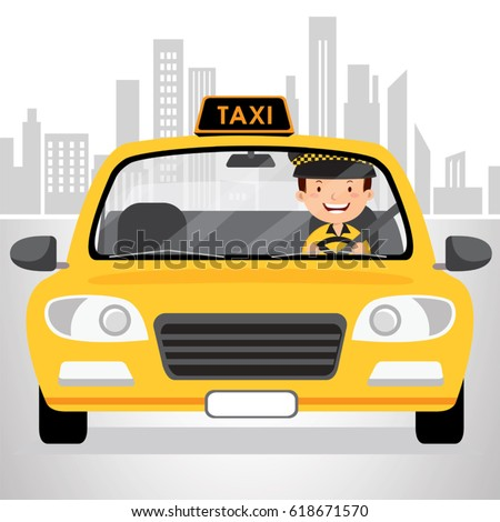 Taxi driver driving in the city