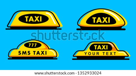 Taxi flat roof sign. Icon set taxi sign on blue background. Taxi sign on the roof of car. Vector illustration.