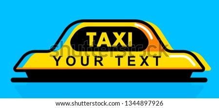 Taxi flat roof sign. Icon taxi sign on blue background. Taxi sign on the roof of car. Vector illustration.