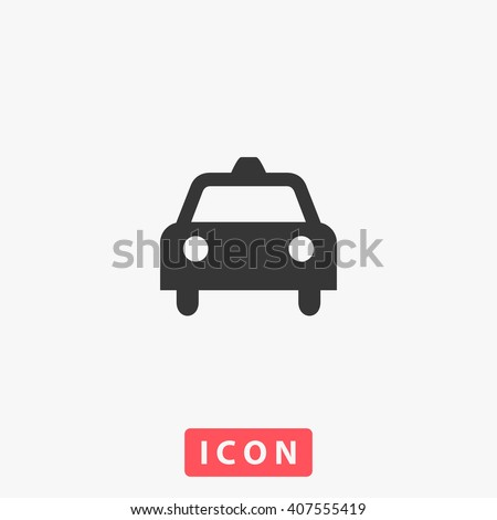 Taxi Icon Vector. Simple flat symbol. Perfect Black pictogram illustration on white background.