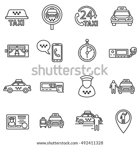 Taxi icons set, line style. Call and a ride isolated symbols collection. Working as a driver vector illustration