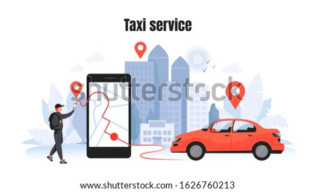 Taxi ordering. Car rent and sharing concept with cartoon character, mobile application mockup. Vector delivery service vehicle illustrations template for using in navigational technology