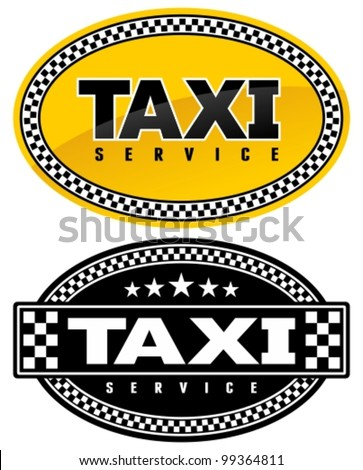 Taxi oval badge with checkered border. Signs and labels. - stock vector