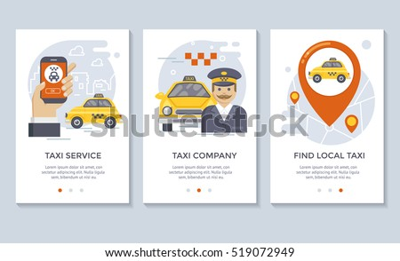 Taxi service banners, flat design