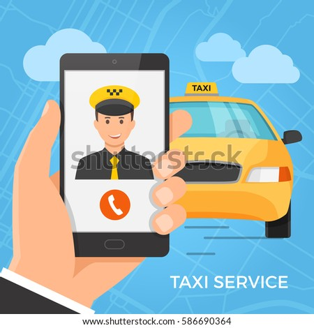 taxi service concept hand
