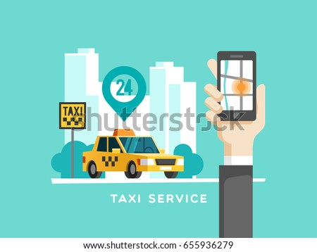 Taxi service concept. Hand with smartphone - app on the screen of the mobile phone. Vector illustration.