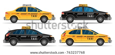 Taxi service concept. Set of different types of taxi cars, black and yellow taxi cab isolated over white background vector illustration flat