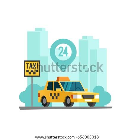 Taxi service concept. Taxi car parking along the city street. Vector illustration.