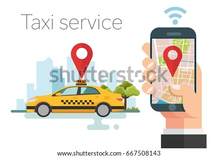 Taxi service. Hands with smartphone and application, city silhouette with tower, Vector illustration. Flat design.