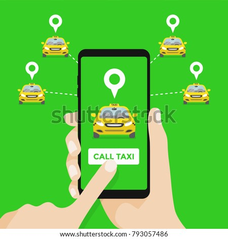 Taxi service. Hands with smartphone and taxi application.