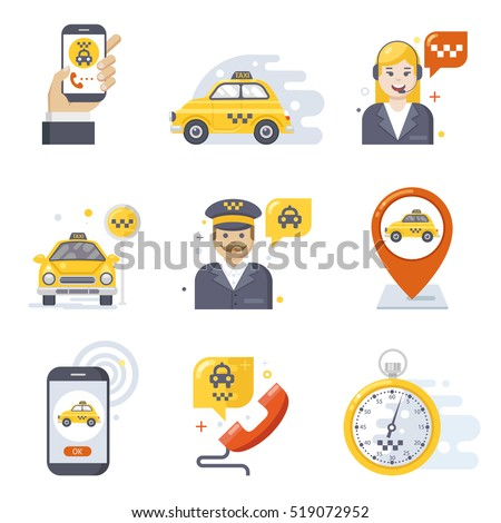 taxi service icon set  flat