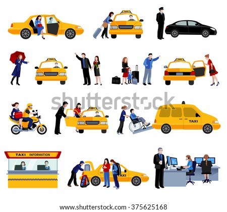 Taxi service icons set with people using taxi and taxi system elements flat isolated vector illustration
