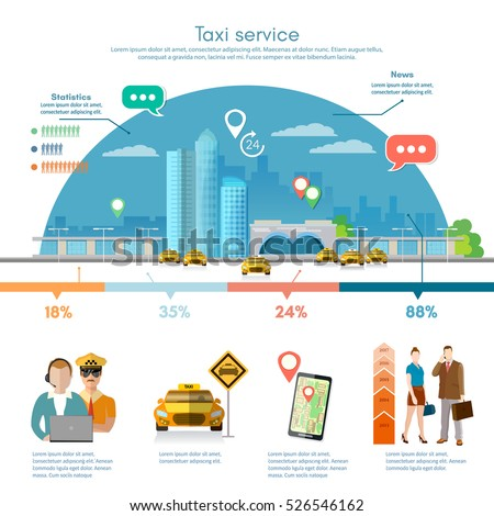 taxi service infographics on a