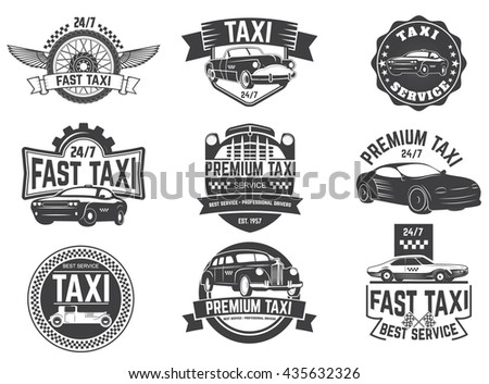 taxi service labels and emblems
