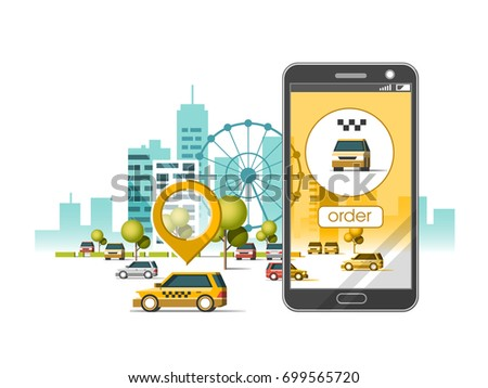 Taxi service mobile application. City skyscrapers building skyline with car on smart phone. Navigate application.