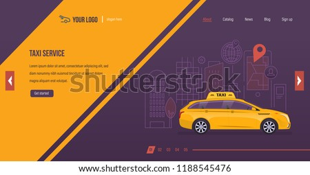 Taxi service. Order vehicle for trip around city, online taxi, gps route with map navigation, internet service with mobile application. Website template design, app. Vector illustration.