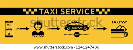 Taxi service. Set of vector icons. A call, the answer of a taxi dispatcher, a car, a taxi driver's payment.