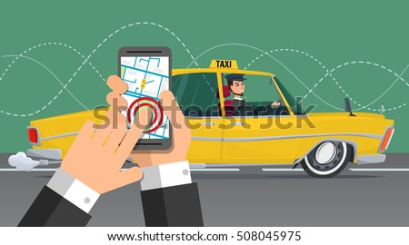 taxi service smartphone and