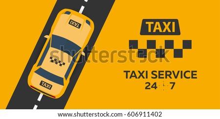 Taxi service. Taxi car. Vector flat illustration