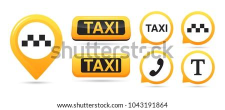 Taxi service vector icons. Taxi map pointer, taxi signs. Taxi service icon set