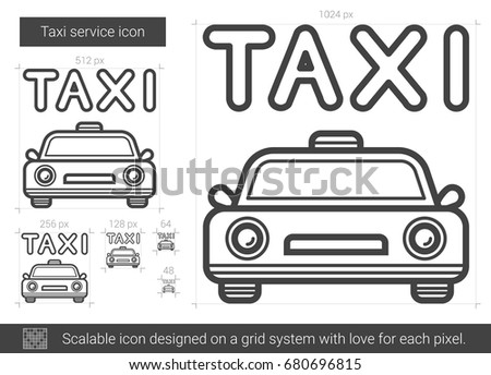 Taxi service vector line icon isolated on white background. Taxi service line icon for infographic, website or app. Scalable icon designed on a grid system.