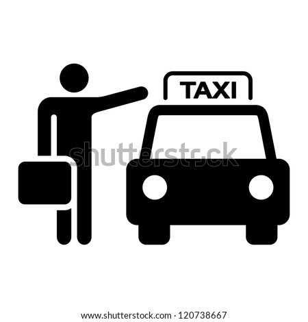 Taxi Sign Silhouette - Travel Illustration of a taxi cab and passenger waving
