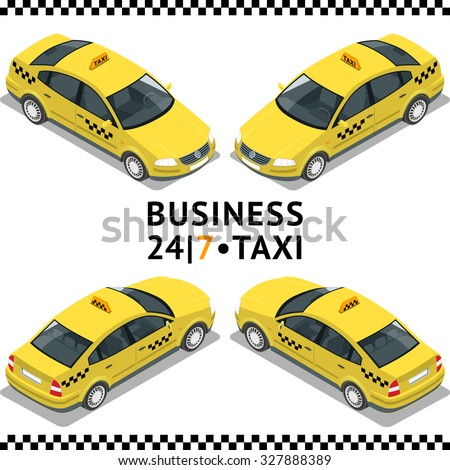 Taxi transport, service. Taxi car. Flat 3d isometric vector illustration. For infographics and design games.