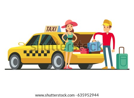 Taxi with open trunk. Happy client and smiling driver. Young happy girl with taxi cab on white background. Taxi driver take baggage from car boot. Vector Illustration.