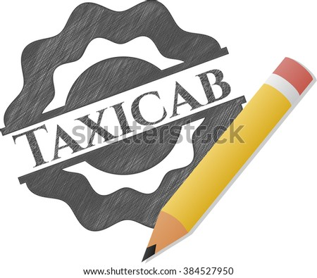 Taxicab emblem with pencil effect