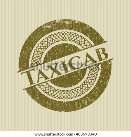Taxicab rubber stamp with grunge texture