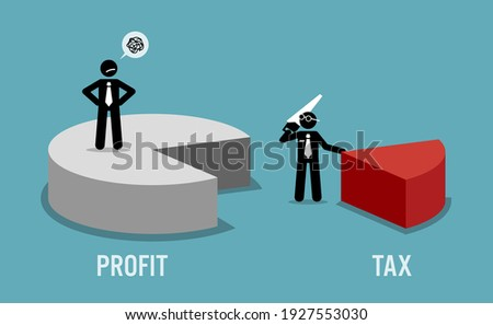 Taxpayer unhappy with business revenue or profit being taxed by the government IRS. Vector illustration concept of tax return obligation, financial burden, taxation, and auditor.  Stock foto ©