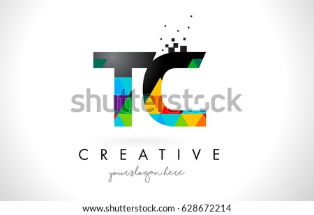 stock-vector-tc-t-c-letter-logo-with-colorful-vivid-triangles-texture-design-vector-illustration