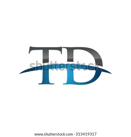 TD initial company blue swoosh logo