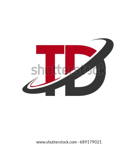 TD initial logo company name colored red and black swoosh design, isolated on white background. vector logo for business and company identity.