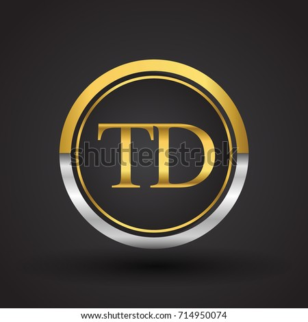 TD Letter logo in a circle, gold and silver colored. Vector design template elements for your business or company identity.