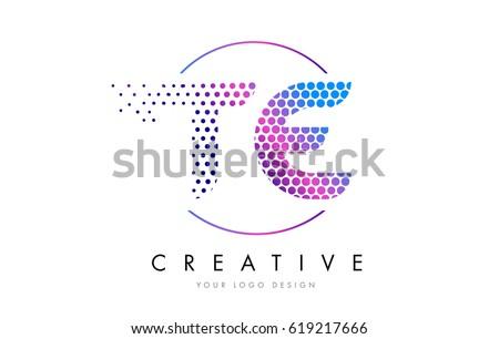 TE T E Pink Magenta Dotted Bubble Letter Logo Design Dots Lettering Vector Illustration