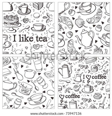 Tea and coffee background set