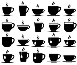 Tea and coffee cup set icon, logo isolated on white background